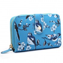 L1580-16J - Miss Lulu Small Oilcloth Purse Flower Bird Print Blue