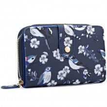 L1580-16J - Miss Lulu Small Oilcloth Purse Flower Bird Print Navy