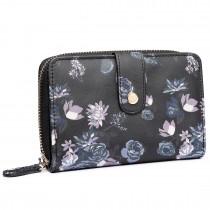 L1580-16ROSE - Miss Lulu Floral Matte Oilcloth Purse Black