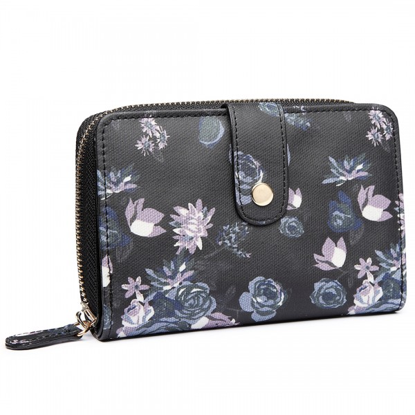 L1580-16ROSE - Miss Lulu Floral Matte Oilcloth Purse Black