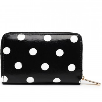L1580D2 - Miss Lulu Small Oilcloth Purse Polka Dot Black