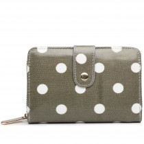 L1580D2 - Miss Lulu Small Oilcloth Purse Polka Dot Grey