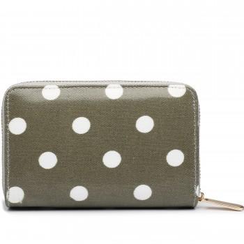 L1580D2 - Miss Lulu Small Oilcloth Purse Polka Dot Grey