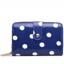 L1580D2 - Miss Lulu Small Oilcloth Purse Polka Dot Navy