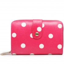 L1580D2 - Miss Lulu Small Oilcloth Purse Polka Dot Plum