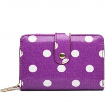 L1580D2 - Miss Lulu Small Oilcloth Purse Polka Dot Purple