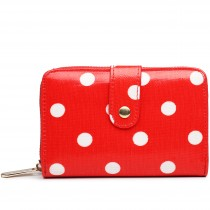 L1580D2 - Miss Lulu Small Oilcloth Purse Polka Dot Red
