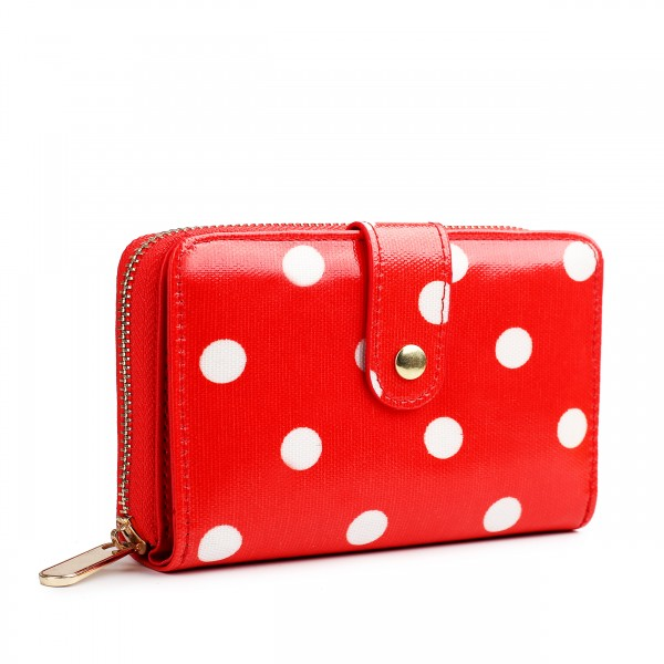 L1580D2 - Miss Lulu Small Oilcloth Purse Polka Dot Red