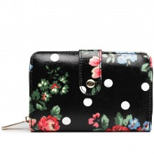 L1580F - Miss Lulu Small Oilcloth Purse Flower Polka Dot Black