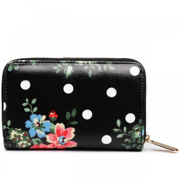 L1580F - Miss Lulu Small Oilcloth Purse Flower Polka Dot Black