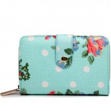 L1580F - Miss Lulu Small Oilcloth Purse Flower Polka Dot Blue