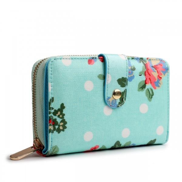 L1580F - Miss Lulu Small Oilcloth Purse Flower Polka Dot Blue