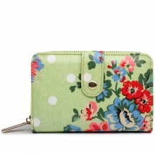 L1580F - Miss Lulu Small Oilcloth Purse Flower Polka Dot Green
