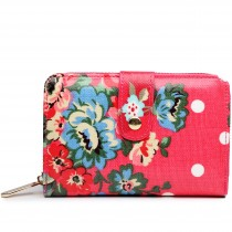 L1580F --Miss Lulu Small Oilcloth Purse Flower Polka Dot Plum