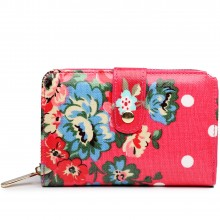 L1580F - Miss Lulu Small Oilcloth Purse Flower Polka Dot Plum