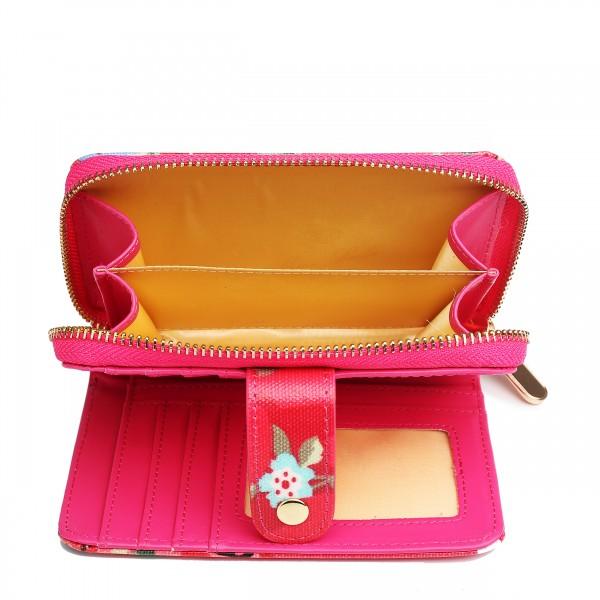 L1580F - Petit portefeuilles en toile cirée à pois et fleurs en rose foncé