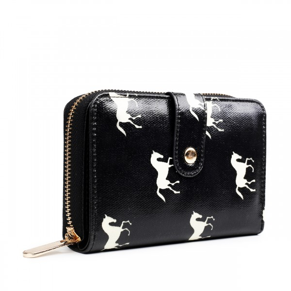 L1580H - Miss Lulu Small Oilcloth Purse Horse Black