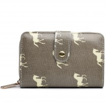 L1580H --Miss Lulu Small Oilcloth Purse Horse Grey