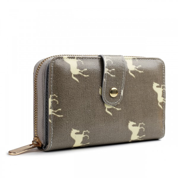 L1580H - Miss Lulu Small Oilcloth Purse Horse Grey