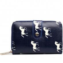 L1580H - Petit portefeuilles en toile cirée avec des chevaux en bleu marine