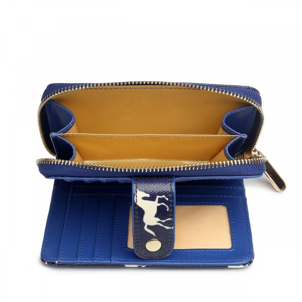 L1580H - Miss Lulu Small Oilcloth Purse Horse Navy