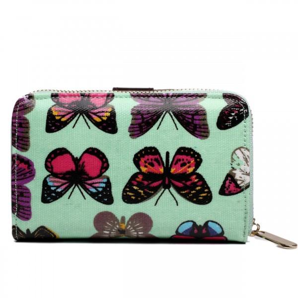 L1580B - Miss Lulu Small Oilcloth Purse Butterfly Green