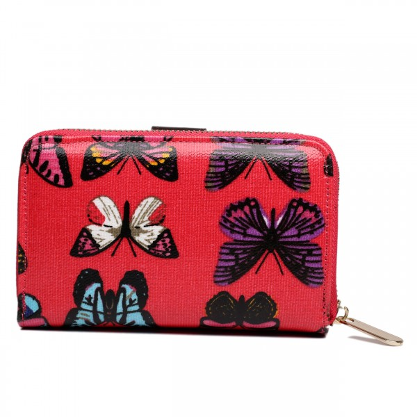 L1580B - Miss Lulu Small Oilcloth Purse Butterfly Plum