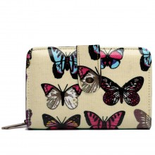 L1580B - Miss Lulu Small Oilcloth Purse Butterfly Beige