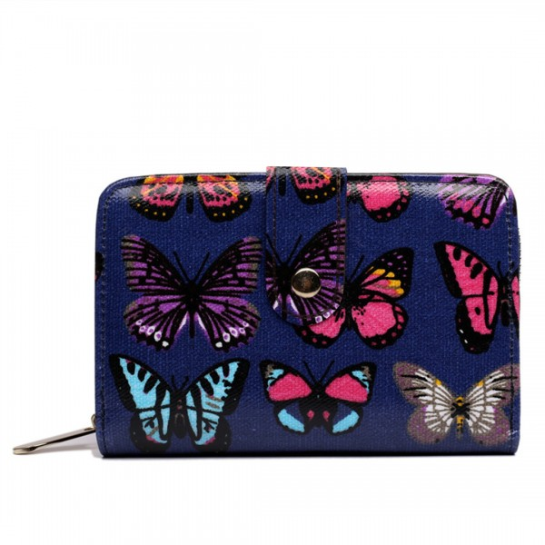 L1580B - Miss Lulu Small Oilcloth Purse Butterfly Navy