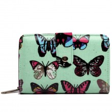 L1580B - Miss Lulu Small Oilcloth Purse Butterfly Green