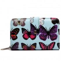 L1580B - Miss Lulu Small Oilcloth Purse Butterfly Blue