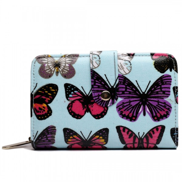 L1580B - Miss Lulu Small Oilcloth Purse Butterfly Blue