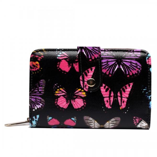 L1580B - Miss Lulu Small Oilcloth Purse Butterfly Black