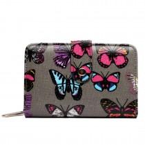 L1580B - Miss Lulu Small Oilcloth Purse Butterfly Grey