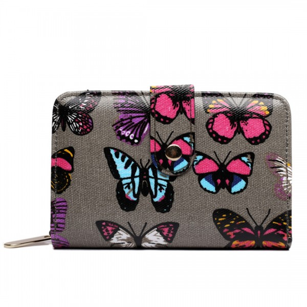 L1580B - Miss Lulu Small Oilcloth Purse Butterfly Grey