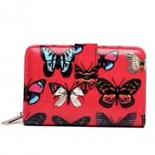 L1580B - Miss Lulu kleine Wachstuchgeldbeutel Schmetterling Dunkelrosa
