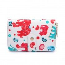 L1580NEW-E - Miss Lulu Small Oilcloth Purse New Elephant Beige