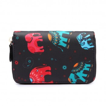 L1580NEW-E - Miss Lulu Small Oilcloth Purse New Elephant Black