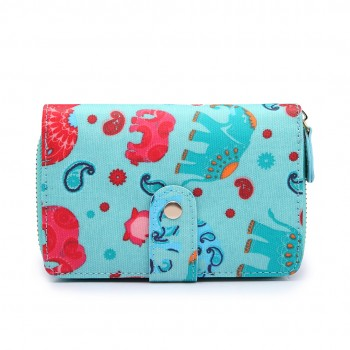 L1580NEW-E - Miss Lulu Small Oilcloth Purse New Elephant light blue
