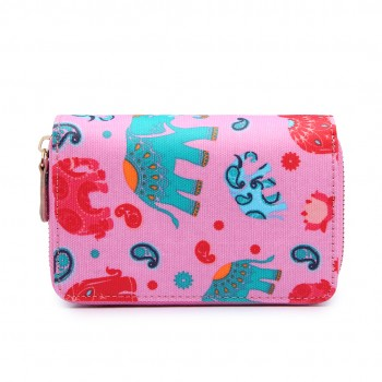 L1580NEW-E - Miss Lulu Small Oilcloth Purse New Elephant pink