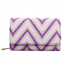 L1581S - Miss Lulu Canvas Printed Striped Flapover Purse Beige