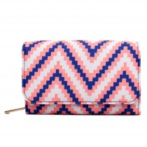 L1581S - Miss Lulu Canvas Printed Striped Flapover Purse Blue