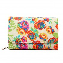 L1581NF - Miss Lulu Canvas Printed Flower Flapover Purse Yellow