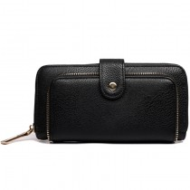 L1582 - Miss Lulu Textured Leather Look Zip Purse Black