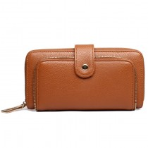 L1582 - Miss Lulu Textured Leather Look Zip Purse Brown