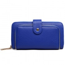 L1582 - Miss Lulu Textured Leather Look Zip Purse Navy