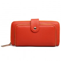 L1582 - Miss Lulu Textured Leather Look Zip Purse Orange