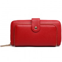 L1582 - Miss Lulu Textured Leather Look Zip Purse Red