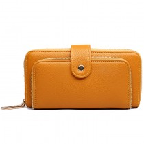 L1582 - Miss Lulu Textured Leather Look Zip Purse Yellow