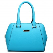 LF1627 - Miss Lulu Faux Leather Two Compartment Shoulder Bag Light Blue